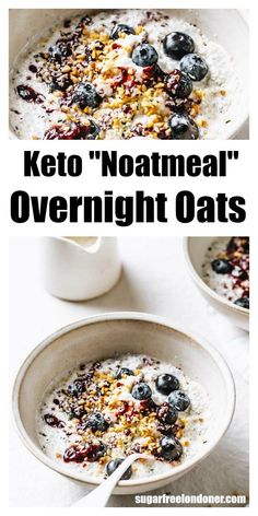 Keto overnight oats taste just as creamy and satisfying as regular overnight oats, just without all the carbs and sugars. This easy low carb noatmeal breakfast recipe is grain and gluten free and will keep you going until lunch. Keto Foods, Ketogenic Recipes, Keto Snacks, Low Carb Recipes, Cooking Recipes, Ketogenic Diet, Keto Diet Breakfast, Breakfast Recipes, Low Carb Breakfast Easy