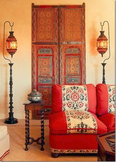 From Cote de Texas Moroccan doors Syrian lanterns - love the Moroccan style Bohemian Interior, Home Interior, Bohemian Decor, Interior And Exterior, Bohemian Style, Bohemian Room, Ethnic Style, Bohemian Living, Vintage Bohemian