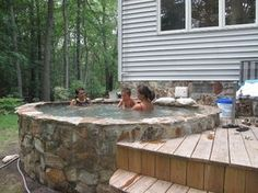 52 Ideas Backyard Landscaping Hot Tub Jacuzzi For 2019 Sauna Design, Outdoor Baths, Small Pools, Small Backyards, Pool Designs, Backyard Landscaping, Outdoor Living, Design Ideas, House