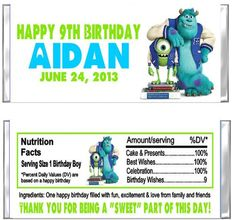 Monsters+University+Birthday+Party+Candy+by+CustomWrappers4U,+$0.75