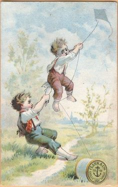 Victorian Trade Card-Clarks ONT Spool Cotton-Boys With Kite | eBay