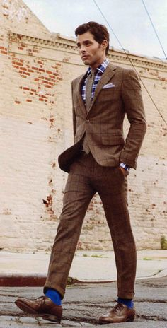 Custom brown window pane tweed suit from Hickey Freeman.