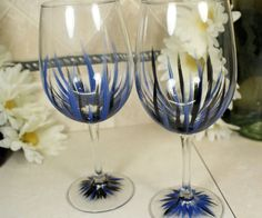 Pour a glass of sophistication with these hand painted wine glasses. $24.00 set of 2.  Handpainted Wine Glasses: Blue Black Christmas by MyCreativeTable