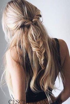 Hairstyles for really long thick hair - Hair Beauty Fishtail Hairstyles, Pretty Hairstyles, Hairstyle Ideas, Spring Hairstyles, Romantic Hairstyles, Boho Hairstyles For Long Hair, Bridesmaid Hairstyles, Bohemian Hairstyles, Date Night Hairstyles