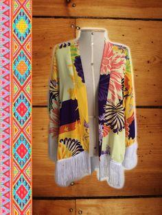Boho Kimono Franjas - Estampa Fio Dourado
