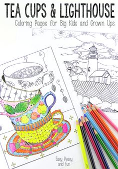 Tea Cups and Lighthouse Coloring Pages FREE download @ Easy Peasy and Fun