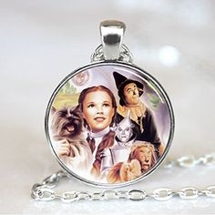 Wizard Of Oz Pendant, Wizard of Oz Necklace, Wizard of Oz Jewelry, Silver (PD0479S) Please visit The Wizard of Charms on Amazon for many more unique and beautiful pendant designs: http://www.amazon.com/handmade/wizardofcharms These pendants are handcrafted & made to order, they will normally ship within 48 hours after purchase. When you purchase this listing you will receive 1 Bronze pendant, and 1 matching chain. This beautiful pendant is 25 mm (1 inch) in diameter and has a Bronze beze...
