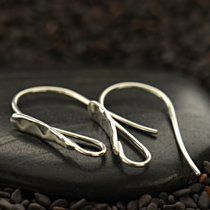 Sterling Silver Hammered Teardrop Earring Top. An elegant and interesting hook earring top to use as a base for your earring designs. The subtle