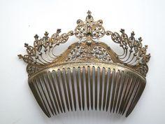 Antique Victorian Hair Comb Ornate Gilt Silver Vermeil Wire Work Filigree