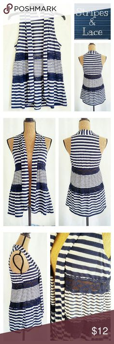 Cute Stripes & Lace Open Cape Flare Vest Super cute stripes and lace open cape vest, navy blue, like-new. It is size L, but it also looks fabulous on a XS-M person! Wide stripe: 92% polyester, 8% linen Narrow stripe: 90% polyester, 10% linen  - Be sure to check out other cute items in my shop. Bundle up for the best deal. - New items are added daily!  - All REASONABLE offers accepted. - Please follow me on instagram @lucybrucey Self Esteem Tops