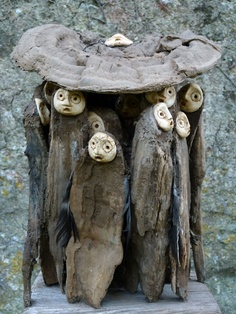 """The artist Jephan de Villiers , sculptor, was born in France in 1940. At age 14 began collecting twigs, leaves and other """"natural objects"""", or rather, the raw materials that would form their fabulous sculptures."""