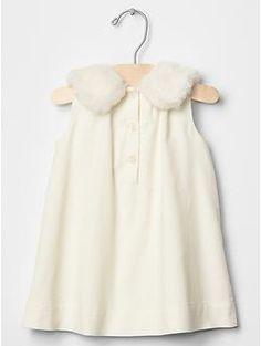 Faux fur collar dress | Gap
