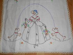 Vintage Hand Crocheted & Embroidered Southern Belle With Her Dogs Table Runner