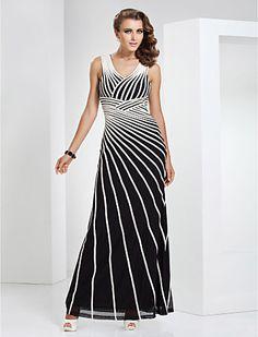 Sheath/Column V-neck Floor-length Tulle And Stretch Satin Evening Dress - USD $ 119.99