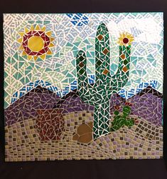 This rustic piece is made with green and brown mosaic tiles mounted on reclaimed pallet wood and finished with a taupe colored grout. Mosaic Garden Art, Mosaic Tile Art, Mosaic Artwork, Mosaic Diy, Mosaic Crafts, Mosaic Projects, Mosaic Glass, Glass Artwork, Mosaic Ideas