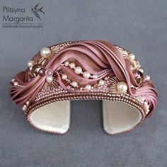 Bracelet with shibori ribbon Mocha rose bead