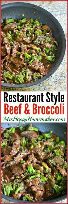This at home version of Restaurant Style Beef and Broccoli is so much better than anything you'll get takeout. One bite & you'll never order it out again. | MrsHappyHomemaker.com @thathousewife