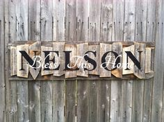 Personalized Family Name Sign on a rustic random wood canvas on Etsy, $40.00