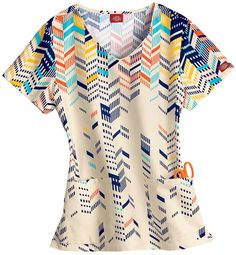Scrubs - Dickies 100% Cotton Chevron Shake Up Scrub Top