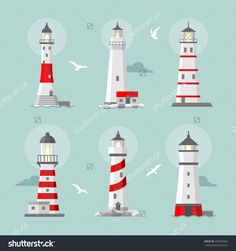 Vector Set Of Cartoon Flat Lighthouses. Searchlight Towers For Maritime Navigational Guidance - 292296866 : Shutterstock