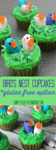 These cute Bird's Nest Cupcakes will be a hit at any spring or Easter party. It's a simple to make dessert that's fun for kids to help make. A gluten free option is included.