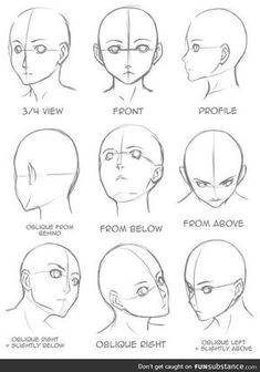 Gesicht zeichnen, aus verschiedenen Blickwinkeln, Anime Mädchen zeichnen, schwarz und weiß, B… - アートブログ 2020 Drawing Tutorials For Beginners, Character Drawing, Sketches, I Love You Drawings, Anime Tutorial, Anime Drawings Tutorials, Anime Drawings, Face Drawing, Anime Character Drawing