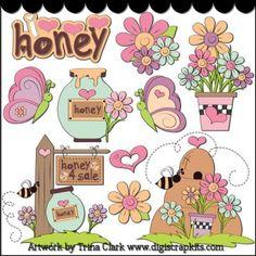 Happy Spring 2 Clip Art - Original Artwork by Trina Clark