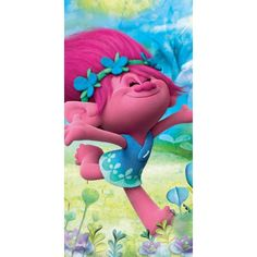 Trolls happy Poppy badlaken 70 x 140 cm - EUR Troll, Smurfs, Poppies, Happy, Cotton, Fictional Characters, Home Decor, Products, Character