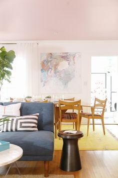A Living/Dining Room Gets A Mid-Century Makeover - Front + Main Pink Ceiling, Mid-century Modern, Accent Chairs, Sweet Home, Dining Room, Mid Century, Places, West Elm, Furniture