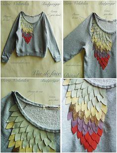 DIY Sweater embellishment, kind of looks like a feather.... I like it!