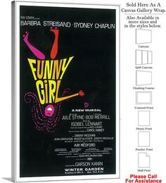 """Funny Girl 1964 Famous Broadway Musical Production Canvas Wrap 18"""" x 30"""""""