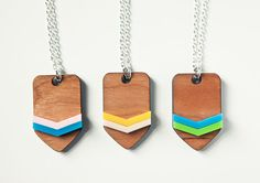 Chevron Necklace laser cut wood and plastic by finestimaginary, $11.50  i like this...