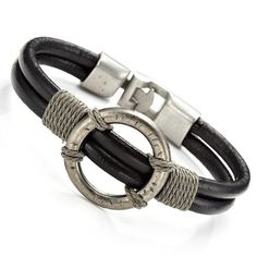 Nice! Mens Black Roman Style Leather Steel Bracelet Cuff 14.90