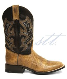 New to STT -- Stetson Men's Waxy Honey & Chocolate Brown Cowboy Boots | These Stetson® Waxy Honey & Chocolate Brown cowboy boots are the epitome of sophistication! The honey brown leather vamp and the tri-colored stitching on chocolate brown shafts are classic & timeless. | SouthTexasTack.com