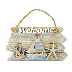 Puzzled Nautical Decor Collection Vintage Welcome Sign (Size: x x . - Puzzled Nautical Decor Collection Vintage Welcome Sign (Size: x x Multi - Beach Themed Crafts, Sea Crafts, Craft Stick Crafts, Nautical Signs, Vintage Nautical, Nautical Craft, Nautical Candles, Nautical Anchor, Nautical Theme