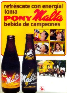 Pony Malta 80's Retro Ads, Vintage Branding, Bavaria, Zine, Beer Bottle, South America, Vintage Posters, Nostalgia, Advertising