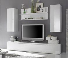 Meuble Télé Mural Blanc Mat Et Bois En Plusieurs Cubes De Rangement | Salon  Moderne | Pinterest | Salons, Tv Walls And Tv Shelf