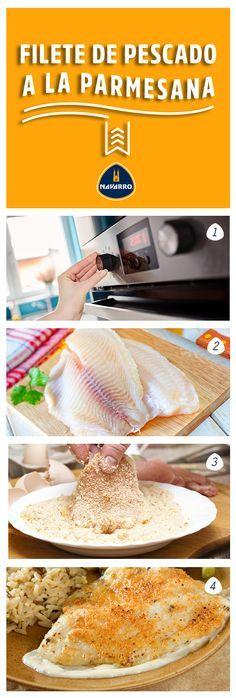 Una excelente opción para compartir en domingo. 1.-Precalienta el horno y engrasa una bandeja para hornear. 2.-Agrega sal, pimienta y rocia un poco de aceite en spray a filetes de pescado a tu gusto. 3.-Mezcla Queso Parmesano NAVARRO,con pan molido y empaniza los filetes uno por uno. 4.-Hornea los filetes empanizads de 2 a 3 minutos. Retira los filetes del horno y haz una cama con salsa tartara, agrega el fiilete de pescado y listo.