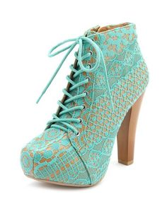 Vintage Lace Lace-Up Heel Bootie: Charlotte Russe