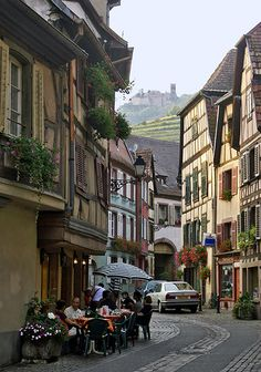 cafe style in Haut Rhin; Ribeauvillé, France....