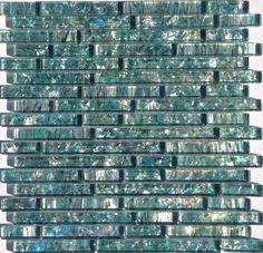 Mineral Tiles - Pearl Glass Mosaic Tile Aqua Linear, $15.50 (http://www.mineraltiles.com/pearl-glass-mosaic-tile-aqua-linear/)