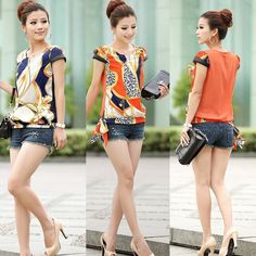 New Women's Chiffon Short Sleeve Casual Printed T-shirt Top Blouse V Neck mc438 #100new #Blouse #CasualCareer