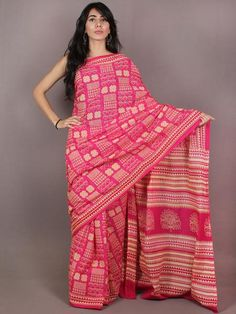 Pink Light Yellow Block Printed in Natural Colors Cotton Mul Saree - S03170704
