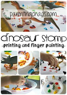 Dinosaur Stomp Painting: Printing and Finger Painting for Kids