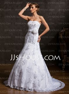 Wedding Dresses - $196.99 - Mermaid Sweetheart Court Train Satin Tulle Wedding Dress With Lace Flower(s) Sequins (002015158) http://jjshouse.com/Mermaid-Sweetheart-Court-Train-Satin-Tulle-Wedding-Dress-With-Lace-Flower-S-Sequins-002015158-g15158