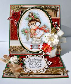 OOAK handmade Wee Stamps Christmas card by MyAdoredAdorables, £9.50