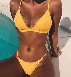 2019 Halter String Lace Up Bandage Ribbed Biquini Swim Bathing Suit Micro Thong Swimsuit Swimwear Women Brazilian Bikini Yellow Bikini Babes, Bikini Modells, Sexy Bikini, Bikini Girls, Bikini Tops, Push Up Bikini, Bikini Ready, Hot Girls, Look Body