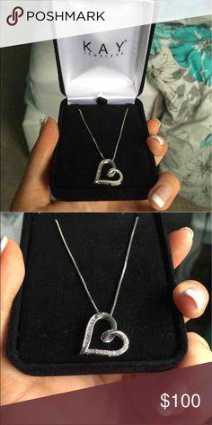 NEW sterling silver KAY heart necklace -originally $150 with tax -brand new -my friend bought it for his girlfriend, but they broke up. -ask me questions :) -next day shipping -make me an offer, around $150...no low ballers please! ☺️ Kay Jewelers Jewelry Necklaces