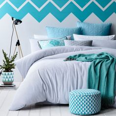 In a unique yarn dyed white waffle weave, with subtle black detail, the Miller quilt cover set from Mercer + Reid is chic, contemporary and will fit beautifully into any home decor. Finished with a brilliant blue piped edge and light silver reverse, this design offers simplicity and understated style. Pair with the contrasting blue quilted European pillowcases for an additional pop of colour.