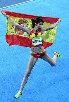 Ruth Beitia of Spain reacts after winning gold in the Women's High Jump Final on…